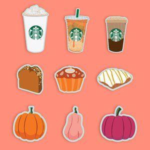 12 Starbucks Sticker Pack Fall Bundle GLOSSY